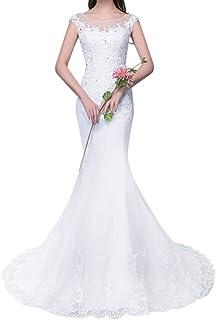 4ab28ce43de Viktion Robe de mariée Traîne Trompette Sirène Dentelle Robe de Mariage sur  Mesure avec Paillette
