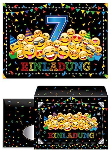 Junaversum 12 Einladungskarten incl. 12 Umschläge zum 7. Geburtstag Kinder siebte Kindergeburtstag