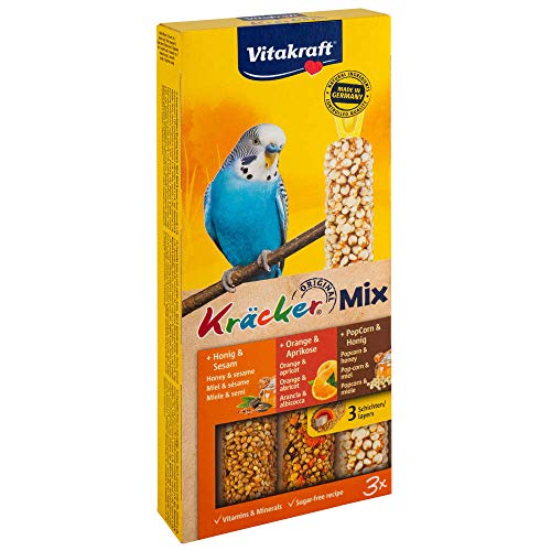 Vitakraft Kräcker Trio-Mix Wellensittich - Honig, Orange & Popcorn