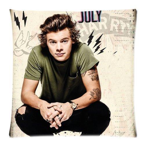 Más caliente música popular banda Estrellas de One Direction Harry Styles personalizada Cool Custom de algodón y poliéster suave cuadrado con cremallera funda de almohada de 18