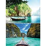 GREAT ART Set de 2 Posters XXL - Barcos y bahías - Selva Tropical bahía Paisaje de la Naturaleza Tailandia Asia Mural decoración póster Foto decoración de la Pared (140 x 100 cm)
