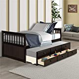 Solid Wood Mate's & Captain's Bed Twin with Storage Drawers and Trundle (Espresso)