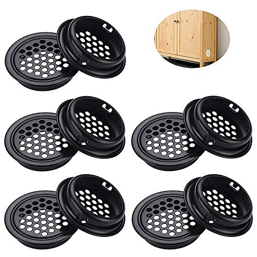 Mirrwin Ventilation Grille Ventilation Venting Ventilation Grille Round Vent Hole Stainless Steel Air Vent Hole Stainless Steel Ventilation Hole 10 Stück 35mm for Kitchen Cupboard Wardrobe
