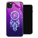 Coque pour iPhone 11, motif spirituel rose pour filles, motif en verre trempé - Absorption des...