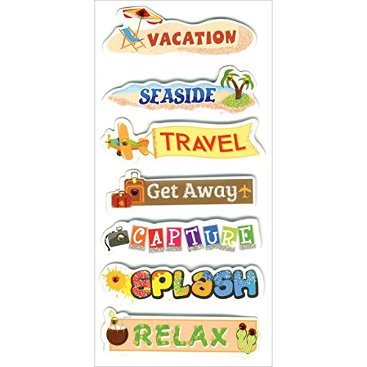 Multicraft Imports SS808P Vacation Tags Craft Glitter Stickers, Multicolor