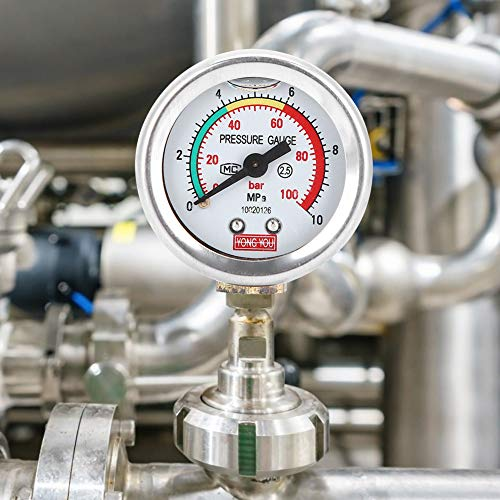 Worii Manometer, landwirtschaftliches Pumpensprühgerät Manometer 2,4 x 1,8 x 1 Zoll Pumpendruckmanometer, ölgetaucht, Außenbereich