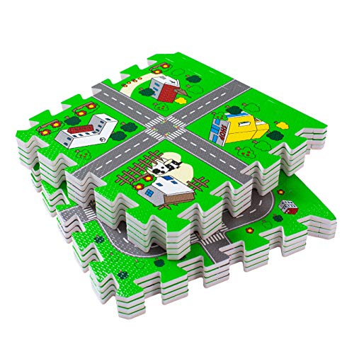 BodenMax Puzzle Play Mat for Children and Babies - City Circuit with Roads - EVA Interlocking Foam Protection Tiles 30x30x1 cm (18 Pieces)