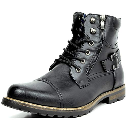 Bruno Marc Men's Philly-3 Black Military Combat Boots - 9 M US