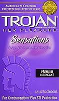 Trojan Her Pleasure Sensations Lubricated Latex Condoms-12 ct (Quantity of 3) by Trojan