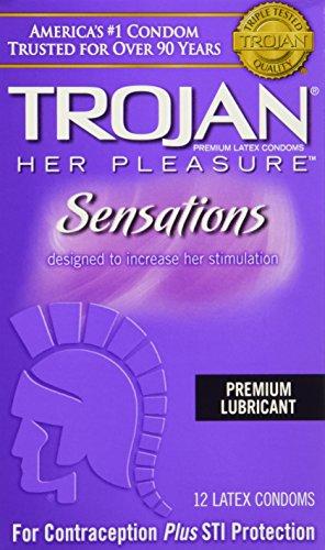 Trojan Her Pleasure Sensations Lubricated Latex Condoms-12 ct (Quantity of 3)
