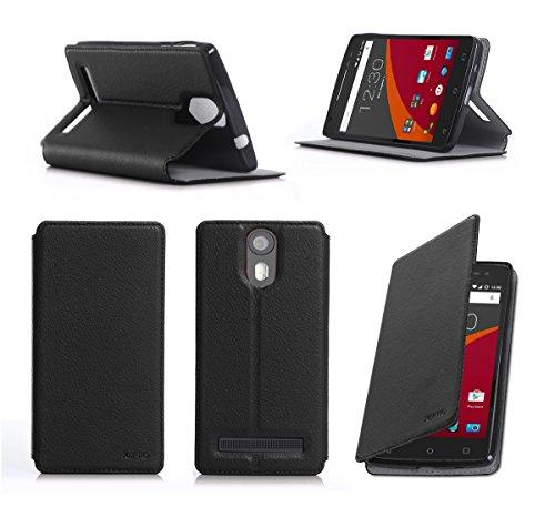 XEPTIO Wileyfox Storm 4G Dual SIM Tasche Leder Hülle schwarz Cover mit Stand - Zubehör Etui Wileyfox Storm 4G Flip Case Schutzhülle (PU Leder, Handytasche schwarz Black) Accessories