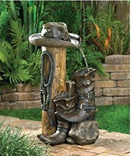 HomyDelight Wild Western Water Fountain Polyresin style delightfully electrical pump 14