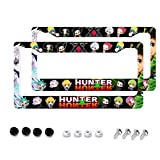 Suguroo Hunter × Hunter License Plate Frame Glitter Bling Alumina Metal License Plate Tag Flat Hole with Gasket, Screw, Screw Cover, Washer.