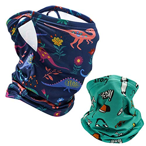 2Pcs Kids Bandanas Face Mask Earloop Neck Gaiters Face Cover for Children Summer Scarf Bandanas Cycling Sport Outdoor (Blue+Green)