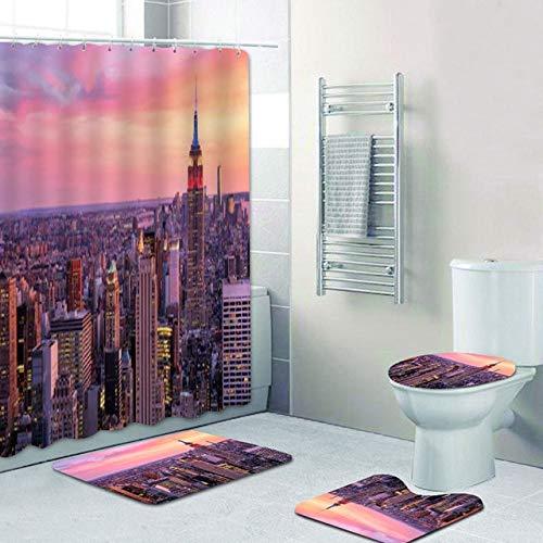 YCDtop Coole Wolkenkratzer in New York City bei Sonnenuntergang Duschvorhang Set Urban NYC Skyline Gebäude Landschaft Badezimmer Gardinen Badematten 180x180cm (71x71in)