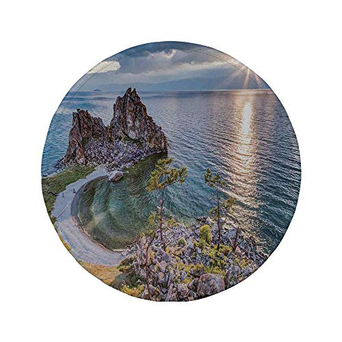 Rutschfreies Gummi-Rundmaus-Pad Reisedekor Schamanen-Felsensee Baikal in Russland Küstenthema Sonnenstrahlen Szenisches Vista Grün-Braun-Blau 7.9