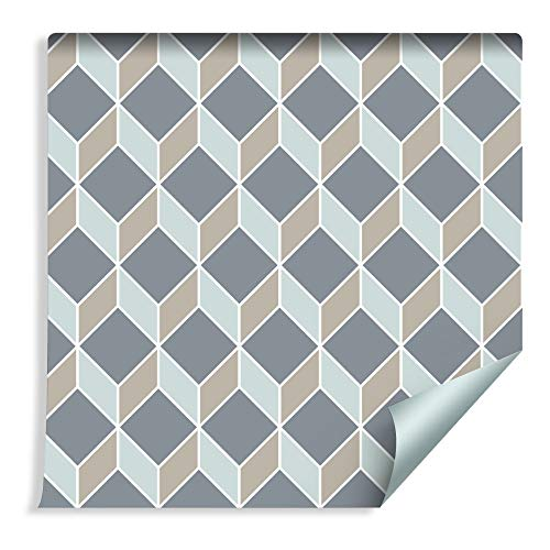 Muralo 57490255 - Papel pintado geométrico abstracto, vinilo moderno, diseño futurista