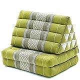 LEEWADEE colchón Plegable con Dos segmentos – Futón tailandés con cojín Hecho a Mano de kapok ecológico, colchoneta Ancha, 115 x 50 cm, Verde