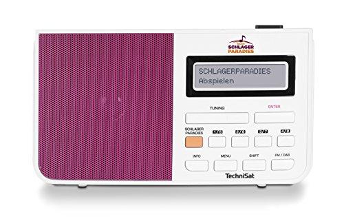 TechniSat DigitRadio 210 Schlagerparadies Edition DAB Radio met Schlagerparadies Directe keuzeknop (DAB+, FM, LCD-display met twee regels telescopische antenne, hoofdtelefoonaansluiting) wit/roze