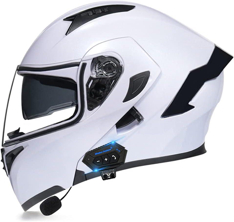 Casco Moto Modular Bluetooth ECE Homologado, Casco De Moto Integral Scooter para Mujer Hombre Bicicleta con Doble Visera