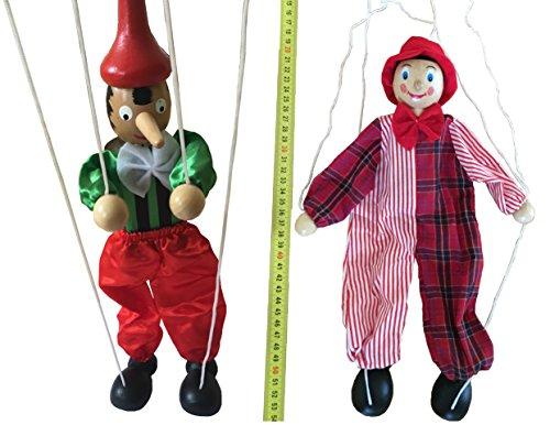 MEIERLE & Söhne Set aus 2 Stück Holz Marionetten Puppen Kasperl Clown Marionette Kasperletheater Handpuppen
