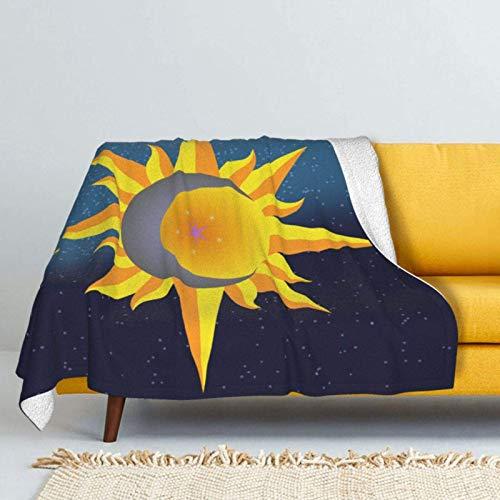 XCNGG mantas de cama mantas de siesta mantas de aire acondicionado Sun Moon Stars Phase of The Moon Sherpa Fleece Blanket Comfy Premium Winter Flannel Throw Blanket Comfortable Fleece Noon Break Blank