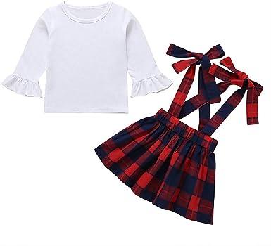 MAYOGO Camiseta Bebe Niña Manga Larga Ropa Cuadros Bebe Niña ...