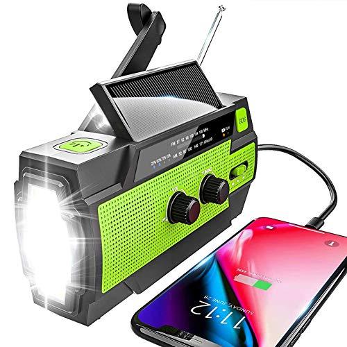 YIKANWEN Solar Radio,AM/FM Kurbelradio Tragbar USB Notfallradio mit 4000mAh Wiederaufladbare Batterie und Handkurbel Dynamo für Camping, Reisen (Grün)