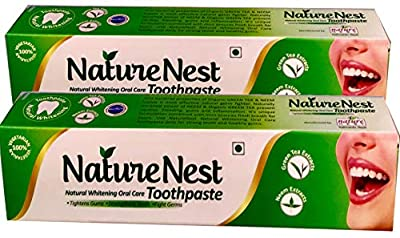 Nature Nest Herbal Vegan Toothpaste (2 Bulk Pack) Natural SLS Free Himalayan Green Tea Extract & Neem Extract, Peppermint oil, Spearmint Oil, Clove Oil, Aniseed Oil, Calcium Carbonate - Kids Friendly