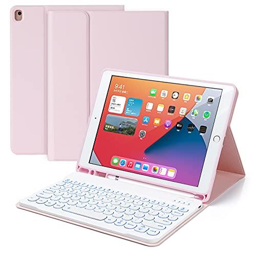 tablet tastiera staccabile Czemo Custodia Tastiera per iPad 10.2  2020 / 2019 (7a/8a Gen) / iPad Pro 10.5 / iPad Air 3 con Tastiera 7 Colori Retroilluminata Staccabile Wireless Bluetooth e Porta Penna (Rosa)