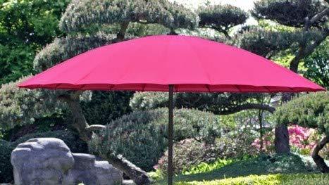 VARILANDO Sonnenschirm 24-fach verstrebt Ø255 cm mit Handkurbel Garten-Schirm Sonnen-Schutz (Pink)