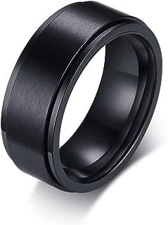 Rockyu ブランド メンズ 指輪 ステンレス シンプル 8MM 回転 回る ブラック リング 23号