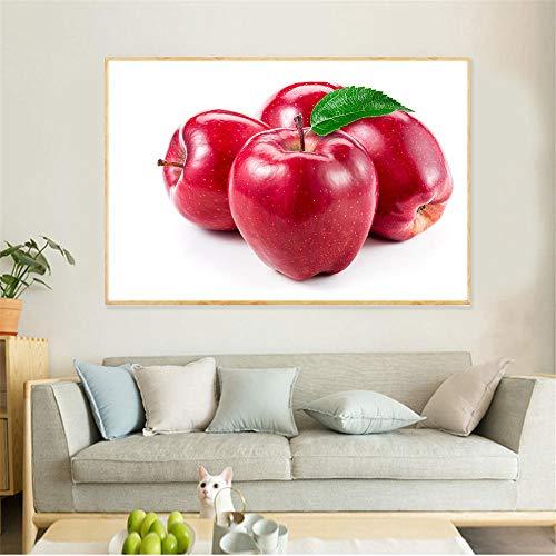 Home Decoration Rood Apple Canvas Schilderij Fruit Poster, Art Prints Muurfoto's voor Woonkamer Keuken Muurschilderingen 60x90cm geen Frame