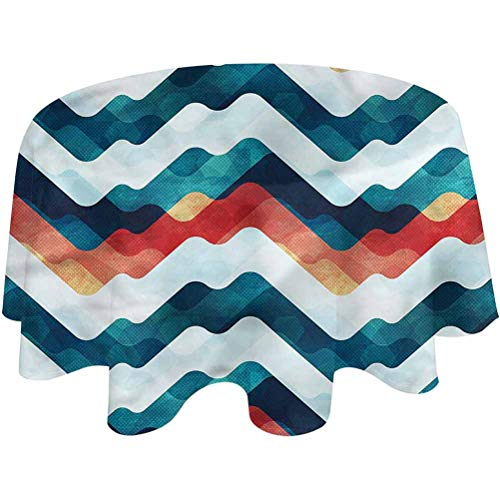 Outdoor Tablecloth Round Modern Patio Table Cloth Chevron Zigzag Stripes Dining Decorative for Party Picnic Round,70 inch