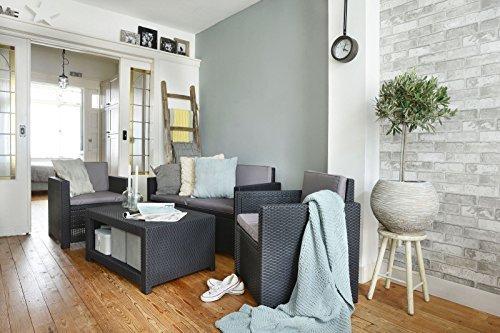 Koll Living Lounge Set Korsika in anthrazit, inkl. Sitzauflagen & Rückenkissen, langlebiger & wetterfester Kunststoff in Rattanoptik, 2 Sessel + 1 Sofa + Tisch - 2