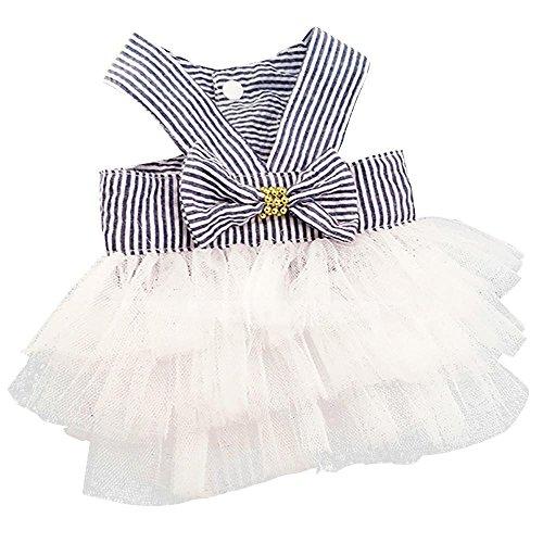 Wakeu Small Dog Girl Dress Pet Puppy Cat Lace Tutu Stripe Vest Skirt Clothes