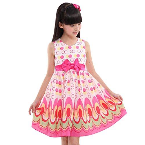 squarex Mädchen Kleid, Mädchen, ärmellos, Gürtel-//Party, Kinder, hot pink, 6 Jahre