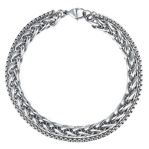 Trendsmax Double Wheat Link Box Chain Bracelet Mens Womens Stainless Steel Stack Bracelets Silver 9 inch