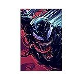 Póster decorativo de pared con diseño de Venom Abstracto de arte de arte de fondo rojo y azul moderno de personajes impresos 60 x 90 cm