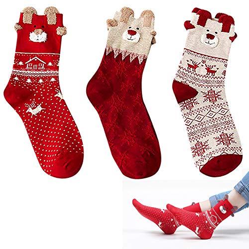Nuluixi 3D Patrones Calcetines de Santa Termicos Calcetines de Navidad Térmicos de Piso Calcetines de Casa Suave Cómodo Gruesa de Invierno Calcetines Calcetines de Algodón de Navidad para Mujeres