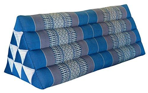 Wilai Kapok Thaikissen, Yogakissen, Massagekissen, Kopfkissen, Tantrakissen, Sitzkissen - Blau/Grau (Dreieckkissen XXL 79x30x33 (81915))