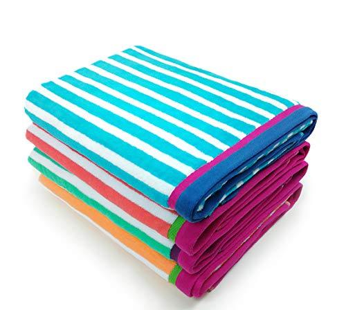 KAUFMAN - Velour Racing Stripe Beach & Pool Towel 4-Pack - 32in x 62in