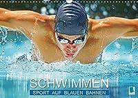 Schwimmen: Sport auf blauen Bahnen (Wandkalender 2021 DIN A3 quer): Das Wasser ist klar, die Bahnen sind frei: Wettkampf im Hallenbad (Monatskalender, 14 Seiten )