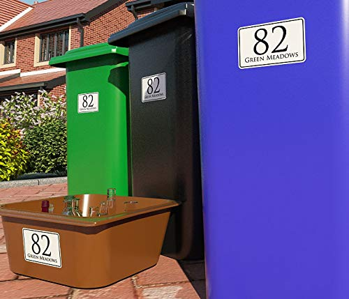 K Smart Sign Personalised Printed Wheelie Bin Number Stickers with number and road Name - A6 Vinyl Waste Container Decals - set of 4