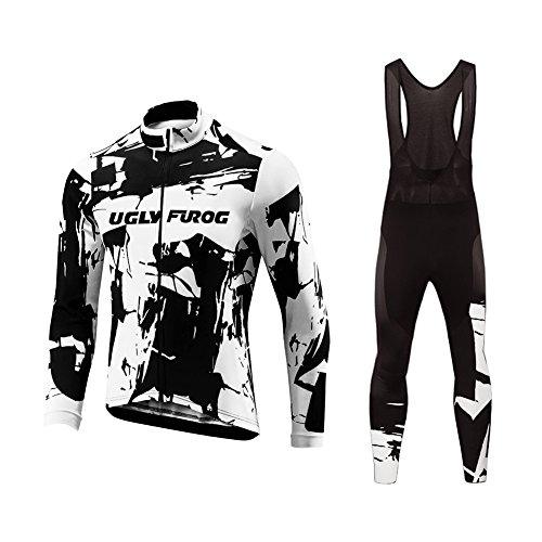UGLY FROG Thermique Maillot de Cyclisme Set Maillot de Manches Longues + Pantalons Homme Hiver Cyclisme Vêtements Respirant Confortable RTMX01