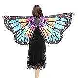 INS人気! Eldori 人気 女性 ショール マント バレンタインデー プレゼント ケープ 肩掛け 蝶柄 ショール バタフライショール 肩マント フリーサイズ スカーフ肌触り抜群 蝶みたい 本物そっくり Women Butterfly Wings Shawl Scarves Ladies Nymph Pixie Poncho Costume Accessory (C)