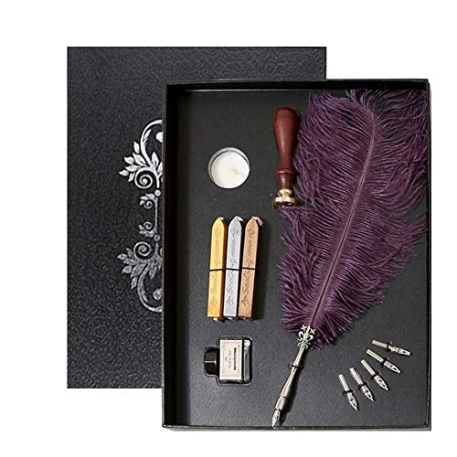 ZZKOKO Calligraphy Pens Set - Quill Pen Set for Beginners, Calligraphy Set Includes Feather Dip Pen, Seal Stamp, 3 Wax Seal Sticks, White Wax, 5 Nibs, Black Ink Bottle