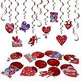 LEMESO 30 piezas Día de San Valentín Decoraciones Colgantes Decoraciones Corazón Rojo Guirnaldas Espiral Remolino Reflectante Colgar Ventana Techo Dormitorio Cena Fiesta de Bodas