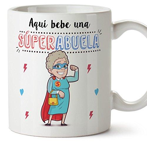 MUGFFINS Taza Abuela – Aquí Bebe una Super Abuela – La Mejor Taza Desayuno del Mundo - Taza Desayuno/Idea Regalo Original/Día de la Madre para Abuelitas. Cerámica 350 mL