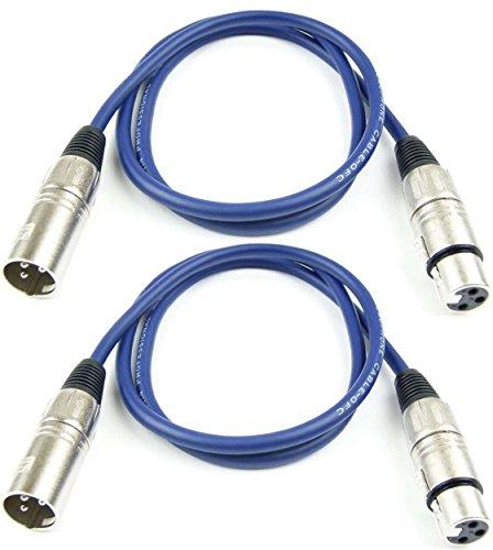 2 x Adam Hall Cables K3MMF0100BLU Mikrofonkabel 1m BLAU XLR female auf XLR male, DMX-Kabel